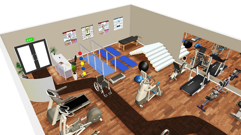 3d Floorplan of Rehab Gym