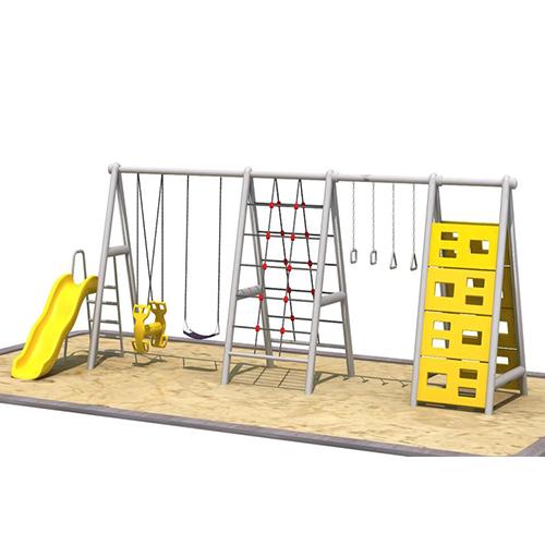 yellow and white swing set playground