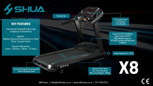SHUA X8 COMMERCIAL TREADMILL [5PHP AC, 20KM/H MAX SPEED]-10